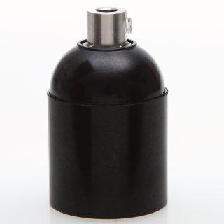 E27 Bakelit Fassung schwarz Glattmantel mit Zugentlaster Metall edelstahloptik