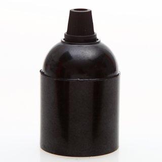 E27 Bakelit Fassung schwarz Glattmantel mit Zugentlaster Kunststoff schwarz Quetschverbindung