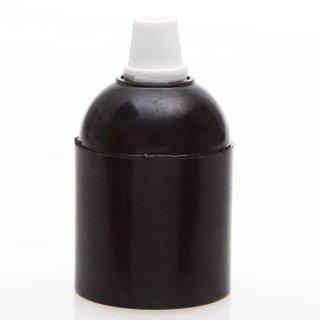 E27 Bakelit Fassung schwarz Glattmantel mit Zugentlaster Kunststoff weiss Quetschverbindung