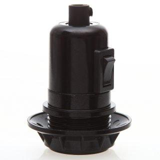 E27 Bakelit Vintage Fassung schwarz mit Teilgewindemantel Wippschalter Kunststoff Zugentlaster schwarz