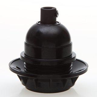 E27 Bakelit Fassung schwarz Teilgewindemantel 1 Schraubring Zugentlaster Kunststoff schwarz