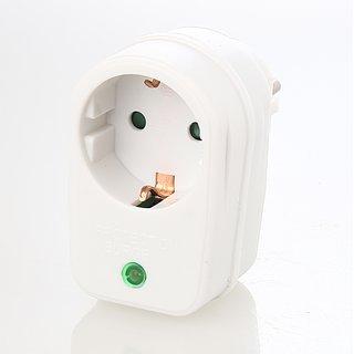 Überspannungsschutz- Adapter,weiß mit Kontroll-Leuchte