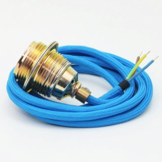 Textilkabel Lampenpendel blau mit E27 Metallfassung inkl. Klemmnippel Zugentlaster Metall vermessingt