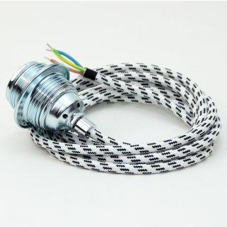 Textilkabel Lampenpendel schwarz-weiss E27 Metallfassung inkl. Klemmnippel Zugentlaster Metall verchromt
