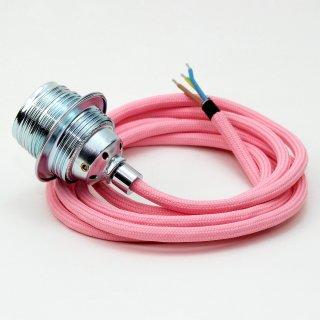 Textilkabel Lampenpendel rosa E27 Metallfassung inkl. Klemmnippel Zugentlaster Metall verchromt