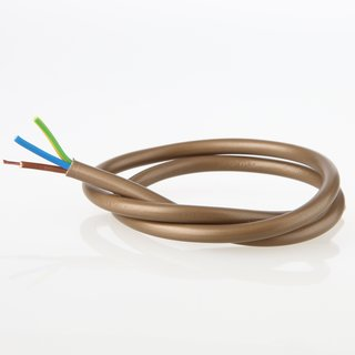 PVC Lampenkabel Rundkabel gold 3-adrig, 3x0,75mm² H03 VV-F