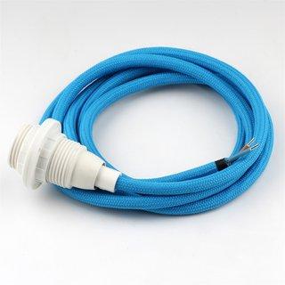 Textilkabel hell-blau mit E14 Fassung Kunststoff weiß und 2 Schraubringe