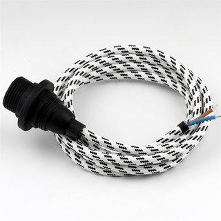 Textilkabel schwarz-weiß mit E14 Fassung Kunststoff schwarz und 2 Schraubringe
