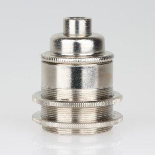 E27 Vintage Lampenfassung Metall Nickel matt 2 Schraubringe ohne Zugentlaster