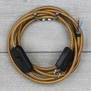 Textilkabel Anschlussleitung 2-5m gold mit Schalter und...