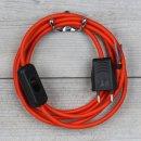 Textilkabel Anschlussleitung 2-5m orange mit Schalter und...