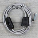 Textilkabel Anschlussleitung 2-5m silber mit Schalter und...