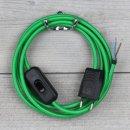 Textilkabel Anschlussleitung 2-5m grün mit Schalter...