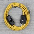 Textilkabel Anschlussleitung 2-5m gelb mit Schalter und...