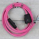 Textilkabel Anschlussleitung 2-5m pink mit Schalter und...