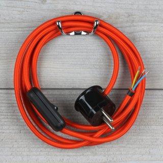 Textilkabel Anschlussleitung 2-5m orange mit Schalter u. Schutzkontakt Winkelstecker