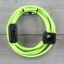 Textilkabel Anschlussleitung 2-5m neon-gelb Schalter u....
