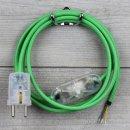 Textilkabel Anschlussleitung 2-5m grün Schalter u....