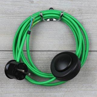 Textilkabel Anschlussleitung 2-5m grün mit Fußschalter und Schutzkontakt-Stecker