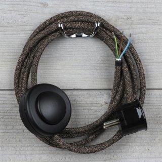 Textilkabel Anschlussleitung 2-5m braun-meliert mit Fußschalter und Schutzkontakt-Stecker