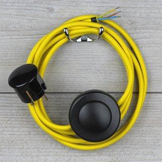 Textilkabel Anschlussleitung 2-5m neon-gelb mit Fußschalter und Schutzkontakt-Stecker