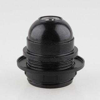 E27 Bakelit Fassung schwarz Teilgewindemantel M10x1 IG 250V/4A inkl. 1 Schraubring
