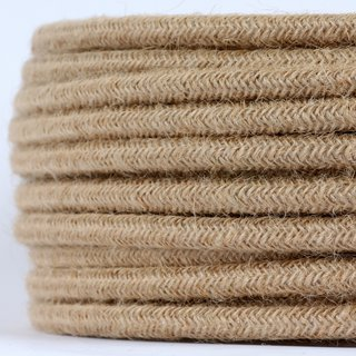 Textilkabel Stoffkabel Hanf Jute beige 3-adrig 3x0,75 Schlauchleitung 3G 0,75 H03VV-F
