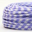 Textilkabel Stoffkabel lila-weiß Hahnenkamm Muster...