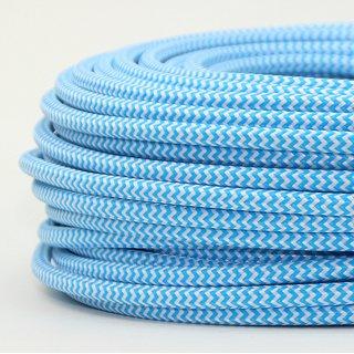 Textilkabel Stoffkabel hellblau-weiß Zick Zack Muster 3-adrig 3x0,75 Gummischlauchleitung 3G 0,75 H03VV-F textilummantelt