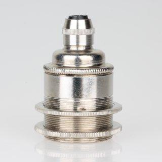 E27 Vintage Metall Lampenfassung Nickel matt mit Klemmnippel Zugentlaster und 2 Schraubringe