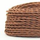 Textilkabel Stoffkabel lehmbraun 2-adrig 2x0,75 gedreht...