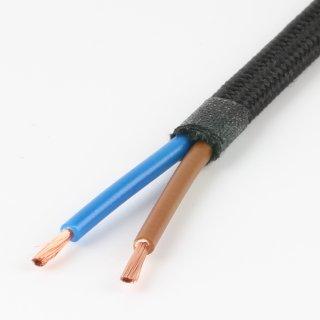 Textilkabel schwarz 2-adrig 2x0,75mm² Flachleitung