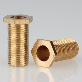 M10x1 Trompetennippel 6 kant ohne Verdrehschutz Messing 12x22mm Gewindelänge 20mm