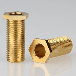 M10x1 Trompetennippel 6 kant ohne Verdrehschutz Messing 12x25mm Gewindelänge 23mm