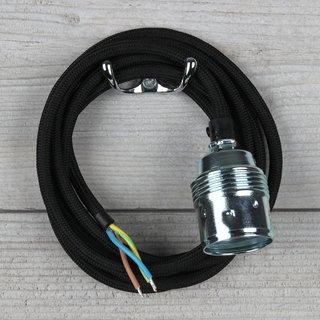 Textilkabel schwarz mit E27 Fassung Metall verchromt inkl. Zugentlaster Kunststoff schwarz