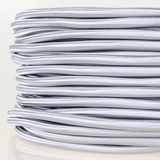 Textilkabel-Stoffkabel silber 3-adrig 3x0,75 mit Stahlseil zur Zugentlastung