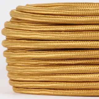 Textilkabel Stoffkabel gold 2-adrig 2x0,75 Gummischlauchleitung 2G 0,75 H03VV-F textilummantelt