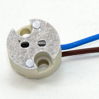 12V Niedervolt Halogen Fassung  G4-GY6,35 mit 2 Meter Kabel mit PTFE Isolation T300 hitzebeständig bis 250° C