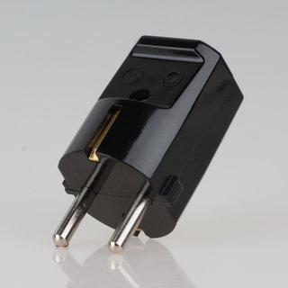 zwei Erdleitersystem Schutzkontakt-Stecker schwarz 250V/16A Bakelit Optik