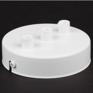 Lampen Metall Baldachin 100x25mm weiß für 3 Lampenpendel mit Zugentlaster aus Kunststoff