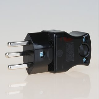 Lampen Schutzkontakt-Stecker schwarz für die Schweiz 3-polig 16A/250V