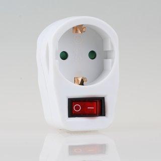 Steckdosen-Adapter weiß mit Schalter 16A/250V 1 x Schutzkontakt-Steckdose