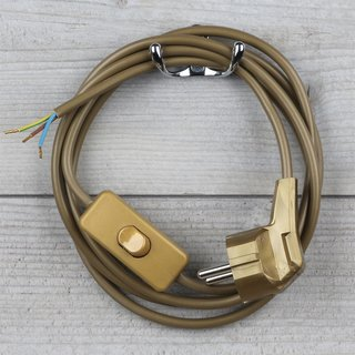 Lampen Anschlussleitung gold 2 Meter 3-adrig mit Schnurschalter und Stecker