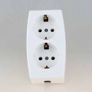 Kaiser Tischsteckdose Steckdosenleiste weiß 2-fach 250V/16A ohne Kabel mit Bodenplatte