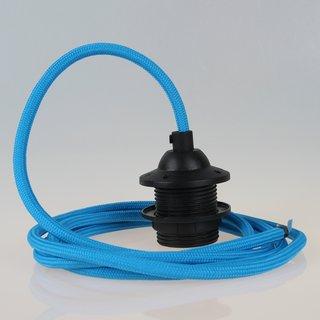 Textilkabel Lampenpendel blau mit E27 Dach-Lampenfassung schwarz