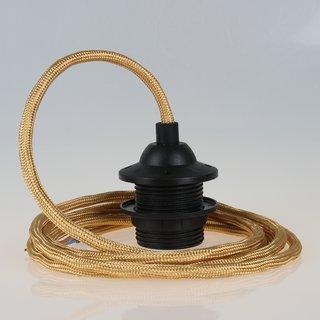 Textilkabel Lampenpendel gold mit E27 Dach-Lampenfassung schwarz