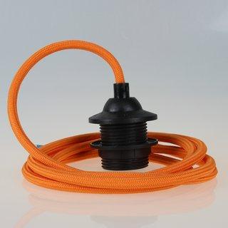 Textilkabel Lampenpendel orange mit E27 Dach-Lampenfassung schwarz