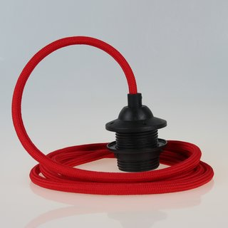 Textilkabel Lampenpendel rot mit E27 Dach-Lampenfassung schwarz