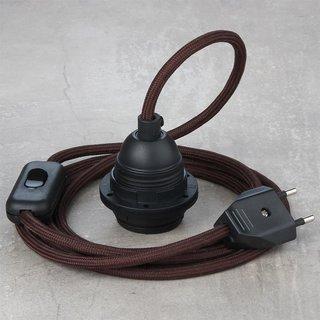 Textilkabel Lampenpendel braun mit E27 Kunststoff Lampenfassung Schnurschalter und Euro-Flachstecker schwarz
