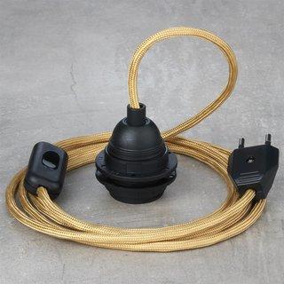 Textilkabel Lampenpendel gold mit E27 Kunststoff Lampenfassung Schnurschalter und Euro-Flachstecker schwarz